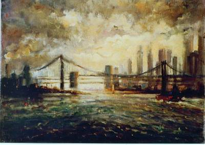 Print featuring the painting Nyc Harbor by Walter Casaravilla