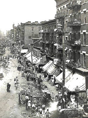 Photograph - Nyc Hester Street - Lower East Sde - Year 1901 by Merton Allen
