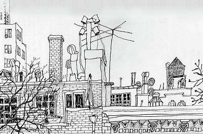 Greenwich Village Drawing - Nyc Roofscape Greenwich Village by James Lewis Hamilton