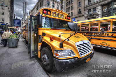 Nyc School Bus Art Print by Yhun Suarez