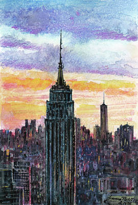 Colored Pencil Painting - Nyc Setting by Franco Puliti