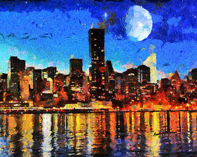 Nyc Skyline At Night Print by Anthony Caruso