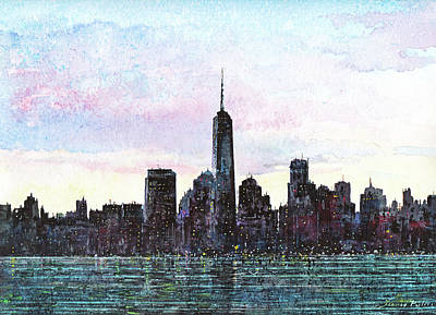 Skylines Paintings - NYC Skyline by Franco Puliti