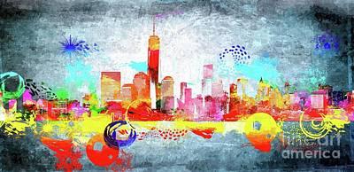 Skylines Mixed Media - NYC Skyline Grunge by Daniel Janda
