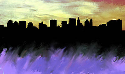 Queen City Skyline Painting - Nyc Skyline Mauve  by Enki Art