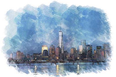 Firefighter Patents Royalty Free Images - NYC Skyline Portrait Royalty-Free Image by Eleanor Abramson