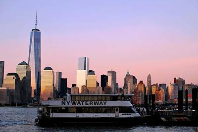 Photograph - Nyc Skyline With Boat At Pier by Matt Harang