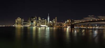 Comic Character Paintings - NYC Skyline with Brooklyn Bridge by John McGraw