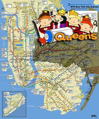 Bronx Mixed Media - Nyc Subway Map Queens by Turtle Caps