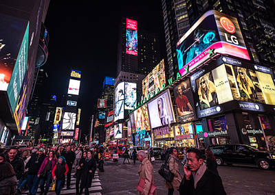 Photograph - Nyc Times Square At Night by Alan Roberts