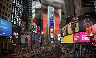 Traffic Light Photograph - Nyc Times Square by Martin Newman