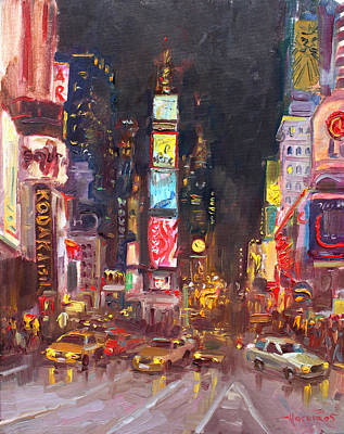 Time Square Painting - Nyc Times Square by Ylli Haruni