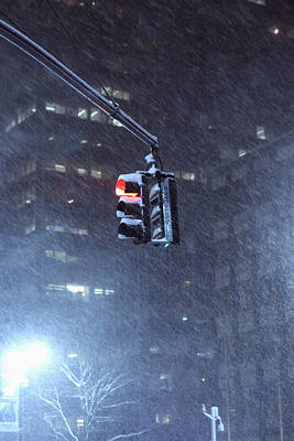 Nyc Traffic Signal Hanging In Snow Storm On  Park Avenue And 46th Street Original
