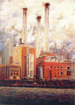 Print featuring the painting Nyc- View From East River  by Walter Casaravilla