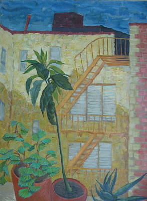 Wall Art - Painting - Nyc View From Window by Inge Klimpt