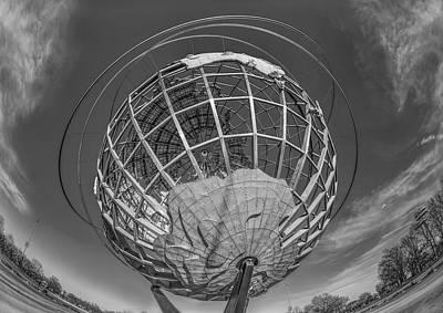 Sunset Photograph - Nyc Worlds Fair Unisphere Bw by Susan Candelario