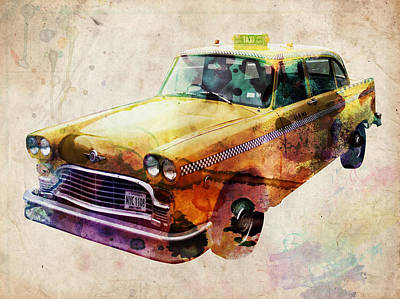 Urban Watercolor Digital Art - Nyc Yellow Cab by Michael Tompsett
