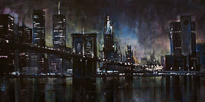Nightime Painting - N.y.city by Michael Lang