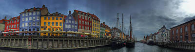 Mixed Media Rights Managed Images - Nyhavn Panoramic Royalty-Free Image by Linda Woods