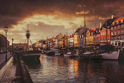 Reflective Photograph - Nyhavn Sunset Copenhagen by Carol Japp