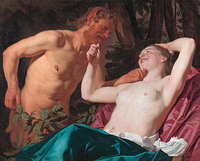 Nymphs And Satyr Painting - Nymph And Satyr by Gerrit van Honthorst