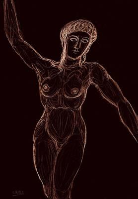 Nymphe Drawing - Nymphe Dansante  by Cindy MILLET