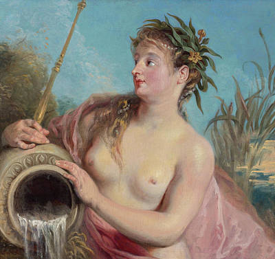 Mythological Painting - Nymphe De Fontaine by Jean-Antoine Watteau