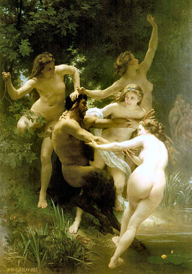 Nymphs And Satyr Painting - Nymphs And Satyr 1873 by William Bouguereau Presented by Joy of Life Art