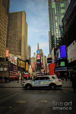 Nypd In Times Square Print by Victory Designs