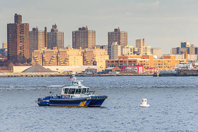 Photograph - Nypd Patrol Boat In East River by SR Green