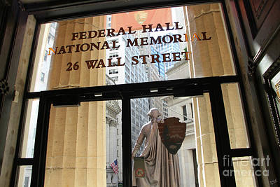 Nyse And Gw Statue View From Inside Federal Hall Building  Art Print by Nishanth Gopinathan
