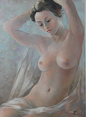 Painting - Vintage Nude Painting Oil On Canvas Signed Vali Irina Ciobanu by Vali Irina Ciobanu