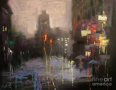 Painting - Nyu And Blue Umbrella by Chin H  Shin