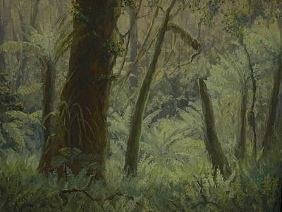 Painting - Nz Bush Interior 1976 by Terry Perham