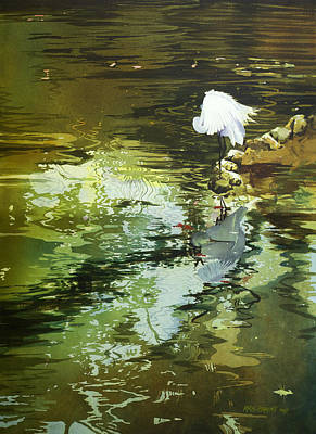 Egret Painting - The Morning Mirror by Kris Parins