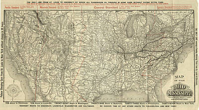 Drawing - O And M Map by Baltimore Ohio Railroad