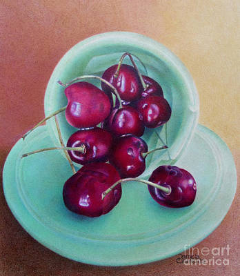 Fruit Colored Pencil Drawing Painting - O-cherry by Pamela Clements