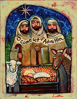 Hand Painted Painting - O Come Let Us Adore Him Shepherds by Jen Norton