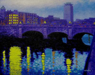 Purple Painting - O Connell Bridge - Dublin by John  Nolan