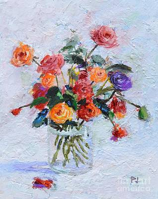 Give Thanks Painting - O Give Thanks  Unto The Lord - Psalm 118 1a - Roses In A Glass - Impressionist Floral Painting by Philip Jones