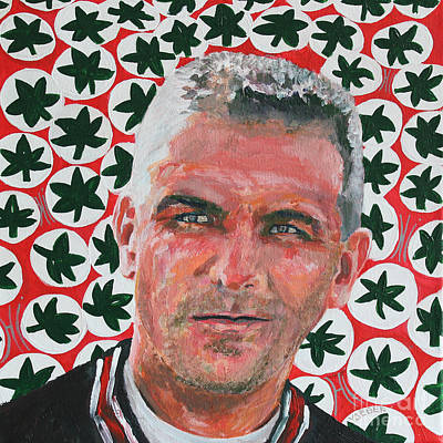 Our National Sport Painting - O H  Urban Meyer Portrait by Robert Yaeger