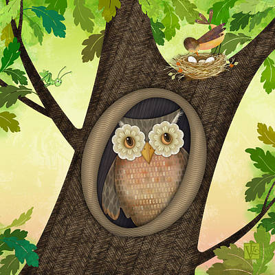 Digital Art - O Is For Owl by Valerie Drake Lesiak