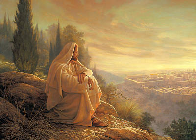 Contemplating Painting - O Jerusalem by Greg Olsen