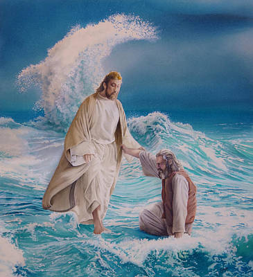 Christ Walking On Water Painting - O Thou Of Little Faith by Gregory Gopp