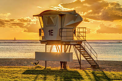 Oahu Lifeguard Art Print by Chris Austin