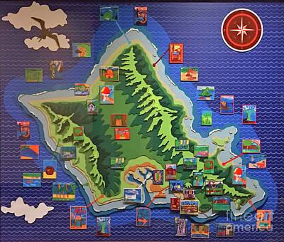 Photograph - Oahu Map by Steven Parker