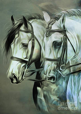 Suckling Painting - Oair Of Horses 01  by Gull G