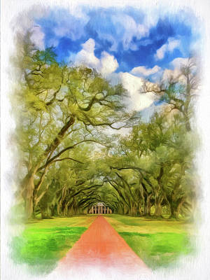 Mansion Digital Art - Oak Alley 7 - Paint Vignette by Steve Harrington