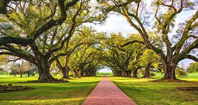 South Louisiana Digital Art - Oak Alley Path 2 - Paint by Steve Harrington