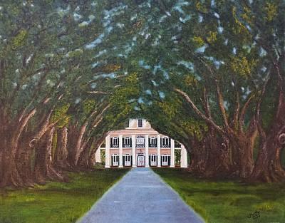 Southern Plantation Painting - Oak Alley Plantation by Judy Jones